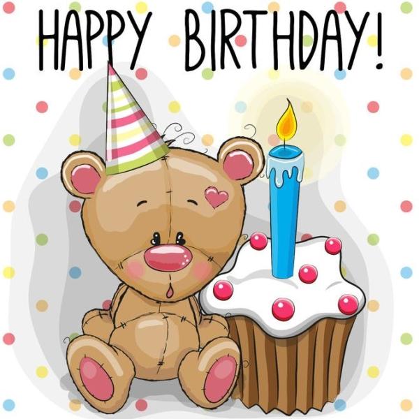Alles Gute zum Geburtstag - Teddy mit Muffig.